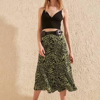 Zelená sukňa so zebrím vzorom Trendyol