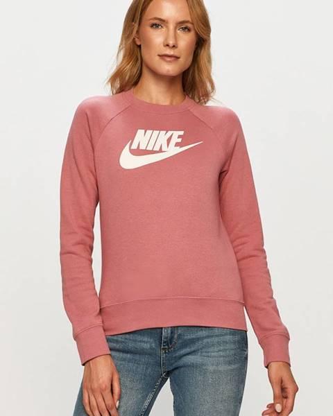 Ružová mikina s nápisom Nike Sportswear