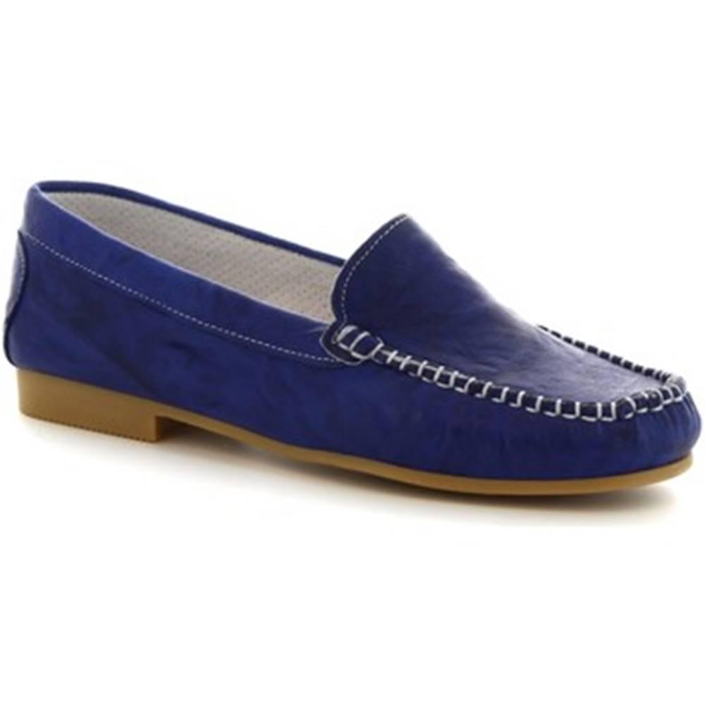 Leonardo Shoes Mokasíny Leonardo Shoes  318  STROPICCIATO COBALTO FONDO GOMMA