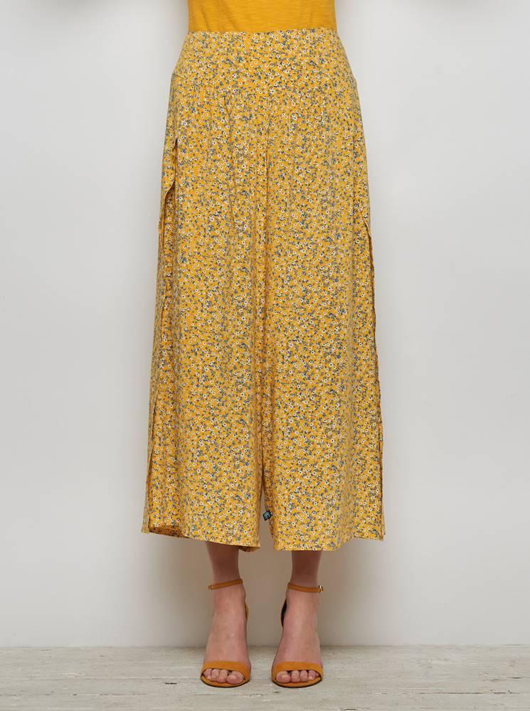 Tranquillo Žlté kvetované voľné nohavice s rozparkami Tranquillo