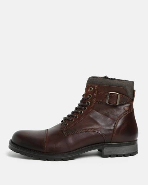Tmavohnedé topánky Jack & Jones