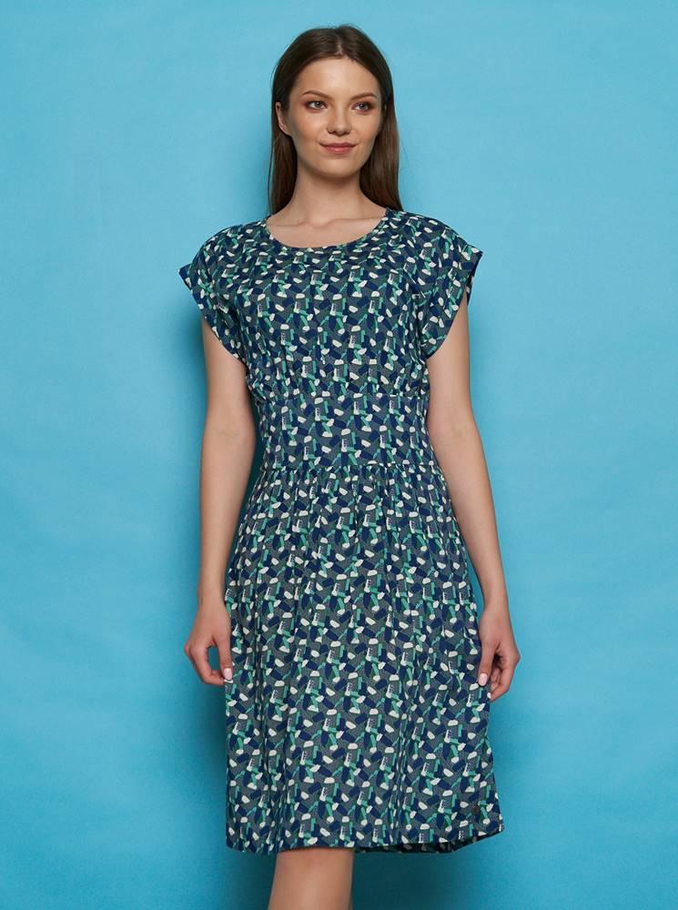 Tranquillo Zeleno-modré vzorované šaty Tranquillo Sua