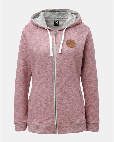 ZĽAVA až 30% na Ružová dámska melírovaná mikina s kapucňou na zips ... 70bce74591e