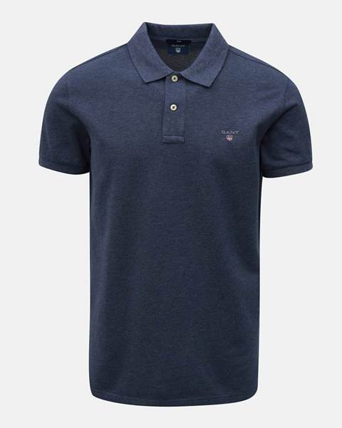 67eb07a94d3d Modrá pánska slim fit polokošeľa s vyšitým logom značky GANT