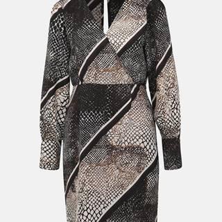 Vero Moda  Béžové šaty s hadím vzorom a priestrihom na chrbte VERO MODA Solde