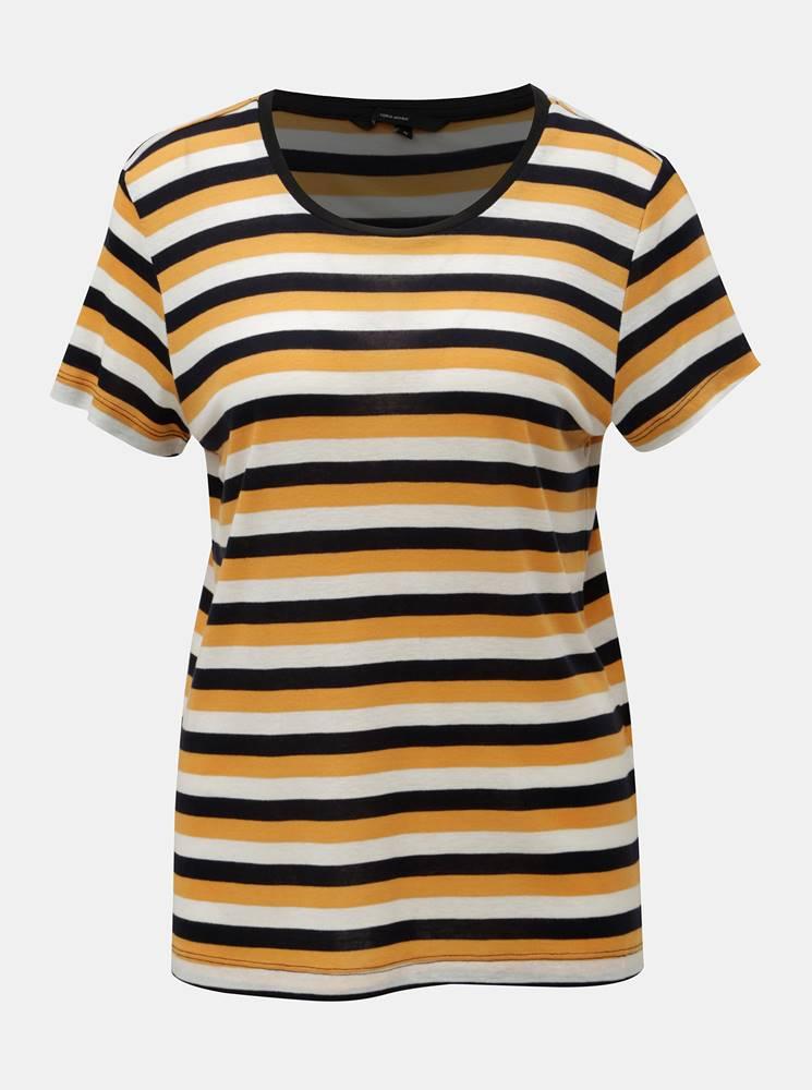 Vero Moda Krémovo–oranžové pruhované basic tričko s krátkym rukávom VERO MODA Vita