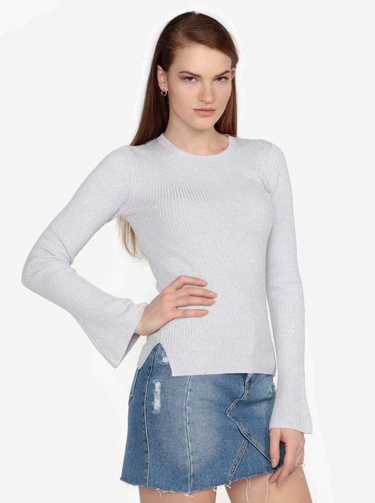 Svetlosivý rebrovaný sveter...
