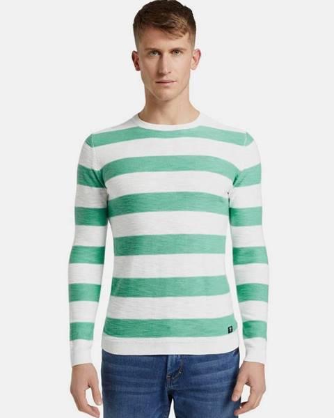 Tom Tailor Denim Zeleno-biely pánsky pruhovaný basic sveter Tom Tailor Denim