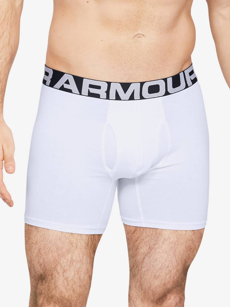 Under Armour Boxerky Under Armour Charged Cotton 6In 3 Pack Biela