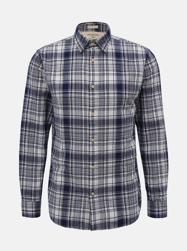 Selected Homme Modrá kockovaná slim fit košeľa Selected Homme Carl