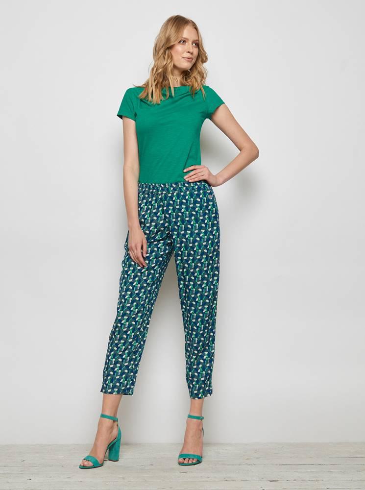 Tranquillo Zeleno-modré vzorované skrátené nohavice Tranquillo