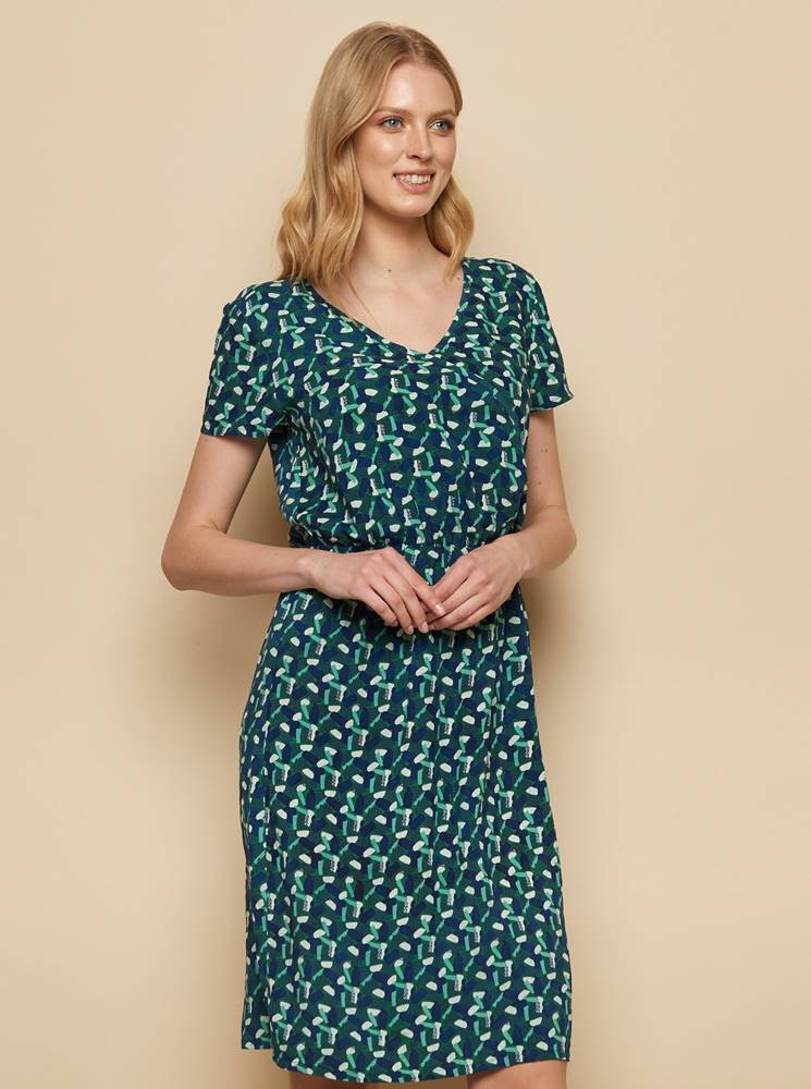 Tranquillo Zeleno-modré vzorované šaty Tranquillo Madiba