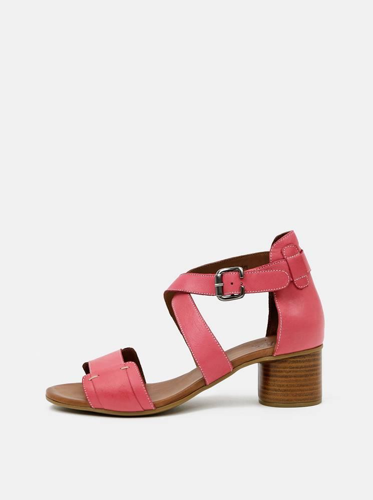 wild Ružové kožené sandálky WILD