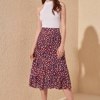 Vínová sukňa s leopardím vzorom Trendyol