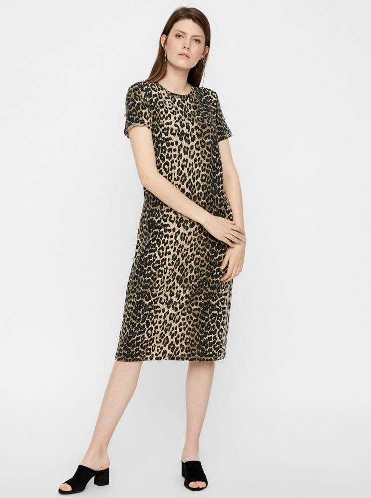 AWARE by VERO MODA Hnedé šaty s leopardím vzorom AWARE by VERO MODA Gava