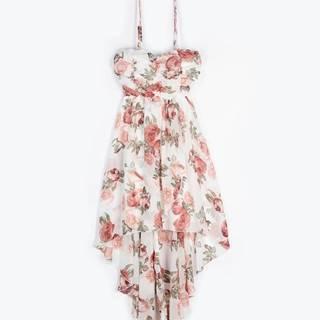Asymetrické šaty s kvetinovou potlačou