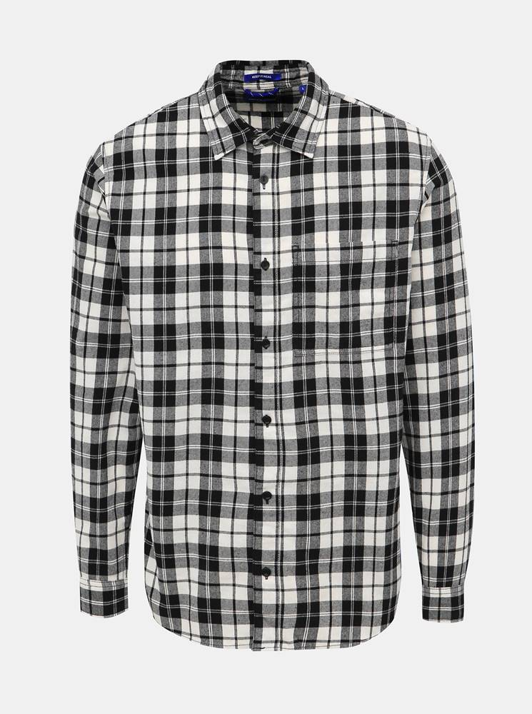 Jack & Jones Čierno-biela kockovaná slim fit košeľa Jack & Jones Jake