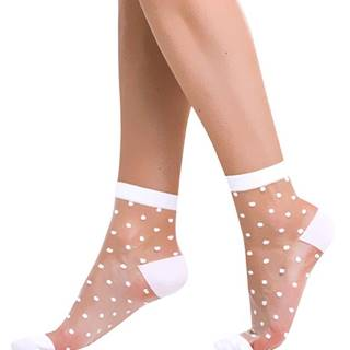 Silonkové ponožky s bodkami  TRENDY biele