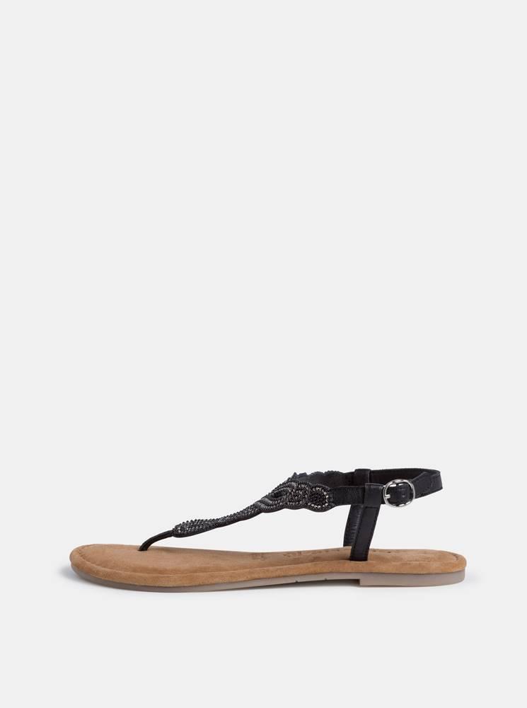 Tamaris Čierne kožené sandále s korálkami Tamaris