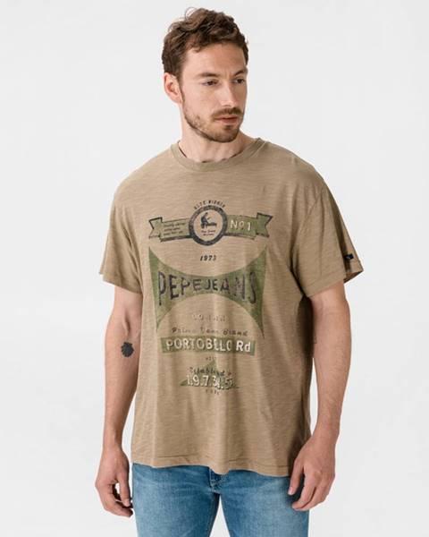 Hnedé tričko Pepe jeans
