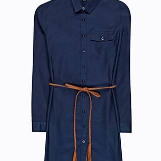 Dlhá bavlnená košeľa s opaskom