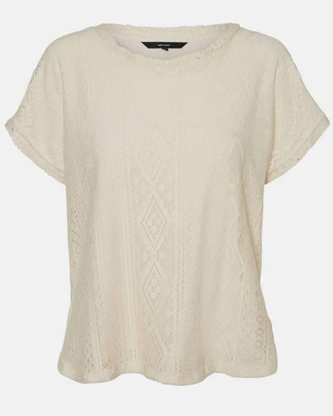 Krémové tričko Vero Moda