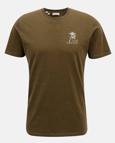 Kaki tričko Selected Homme