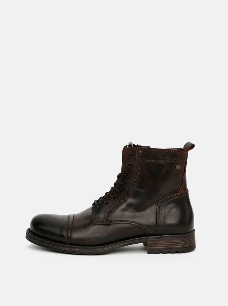 Jack & Jones Tmavohnedé pánske členkové kožené topánky Jack & Jones